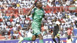 Gor Mahia striker Meddie Kagere celebrates against AFC Leopards.