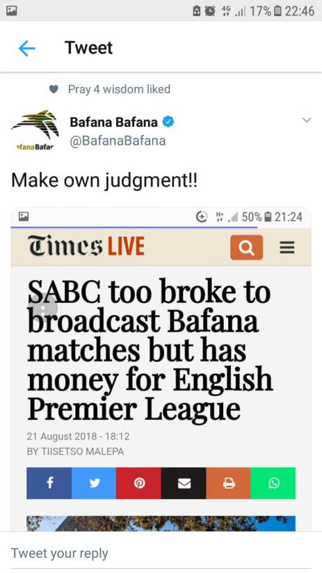 Bafana took broke screenshot