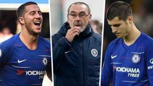 Eden Hazard Maurizio Sarri Alvaro Morata Chelsea GFX
