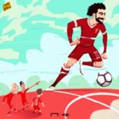 Cartoon Salah and Liverpool strikers