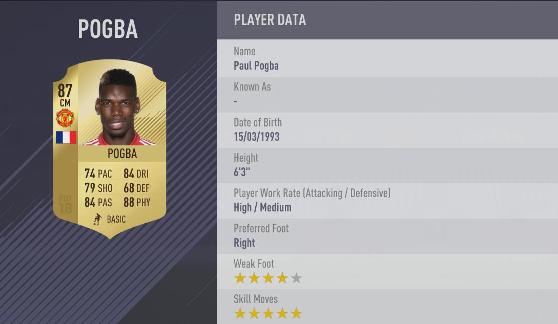 Paul Pogba FIFA 18 Skill Players