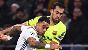 Memphis Depay Sergio Busquets Lyon Barcelona 2018-19