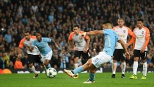 Manchester City Shakhtar Donetsk Sergio Aguero penalty
