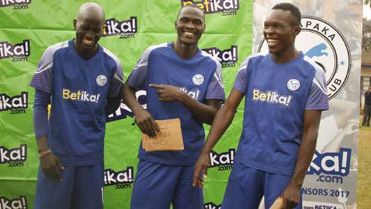 Sofapaka players Umaru Kasumba Rodgers Aloro and Morris Odipo