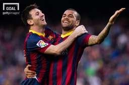 FC바르셀로나에서 함께 뛰었던 리오넬 메시(좌)와 다니엘 알베스(우). 사진=게티이미지