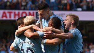Man City celebrate Phil Foden's first Premier League goal