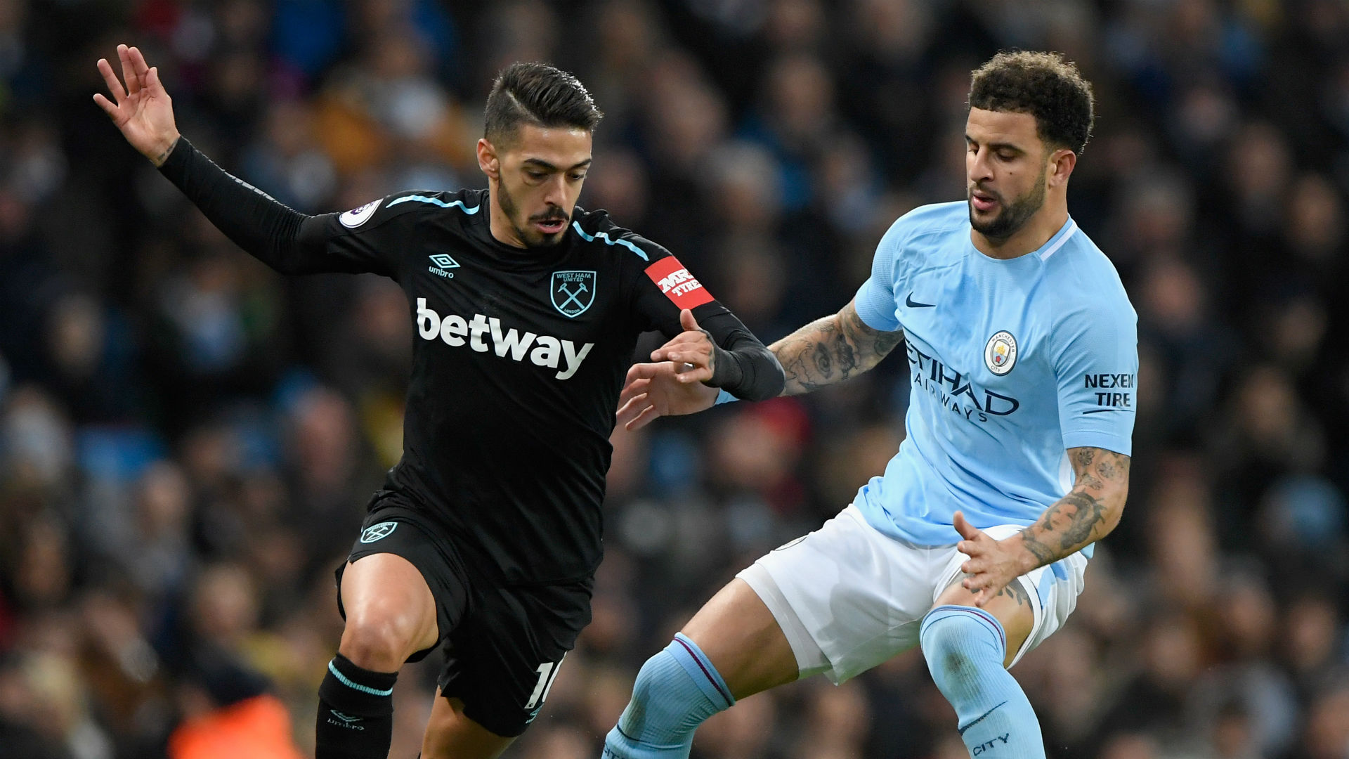 Manuel Lanzini West Ham Kyle Walker Manchester City