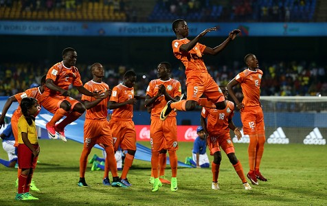 Niger players celebrate