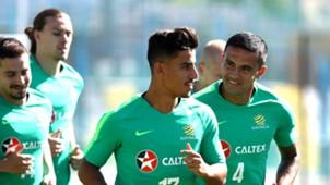Socceroos Daniel Arzani/ Tim Cahill