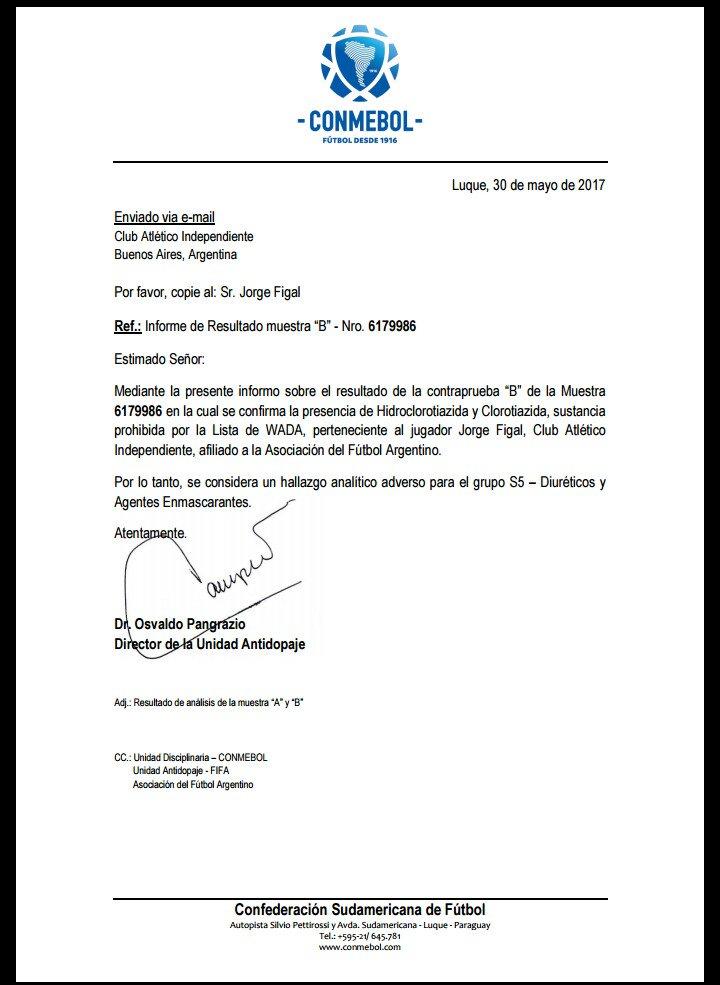 Comunicado Conmebol contraprueba Nicolas Figal Independiente 30052017
