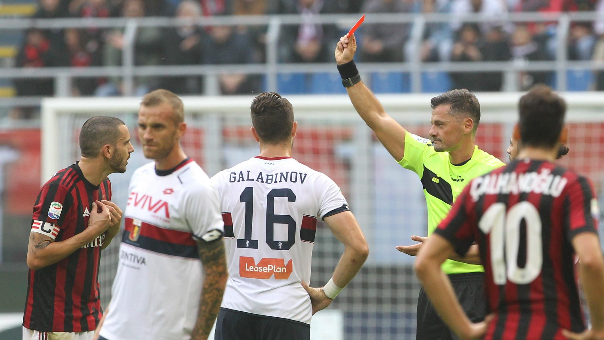 Leonardo Bonucci Milan defender sent off for nasty elbow on