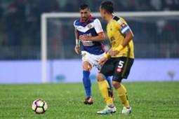 Kelantan's Mohammed Ghaddar (left) playing against Perak 1/3/2017