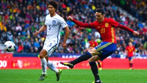 Aritz Aduriz of Spain shoots towards goal against Korea