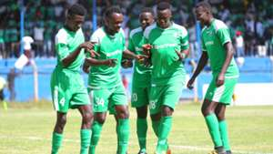 Gor Mahia players with Kevin Omondi.