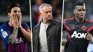 Lionel Messi Jose Mourinho Paul Pogba composite