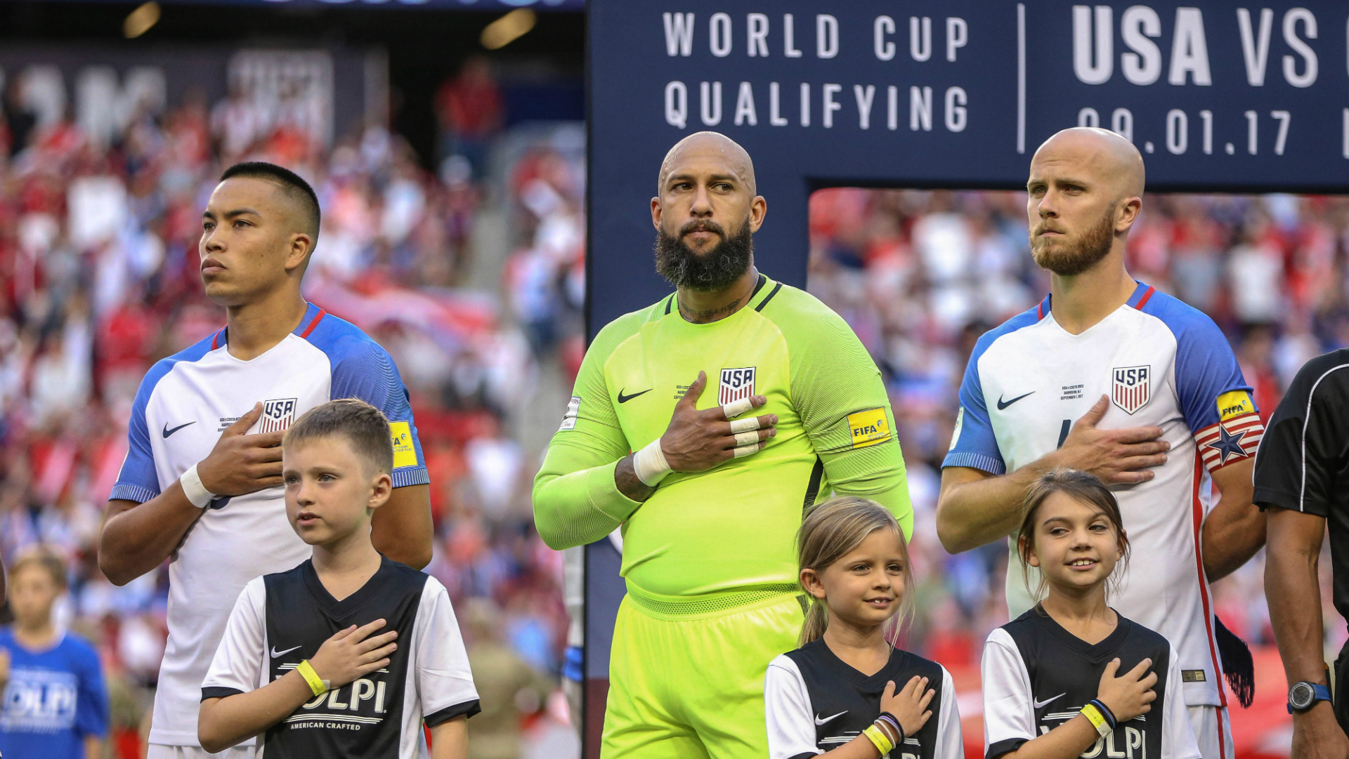 Bobby Wood Tim Howard Michael Bradley USA
