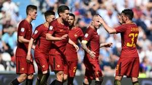 Roma celebrating SPAL Serie A