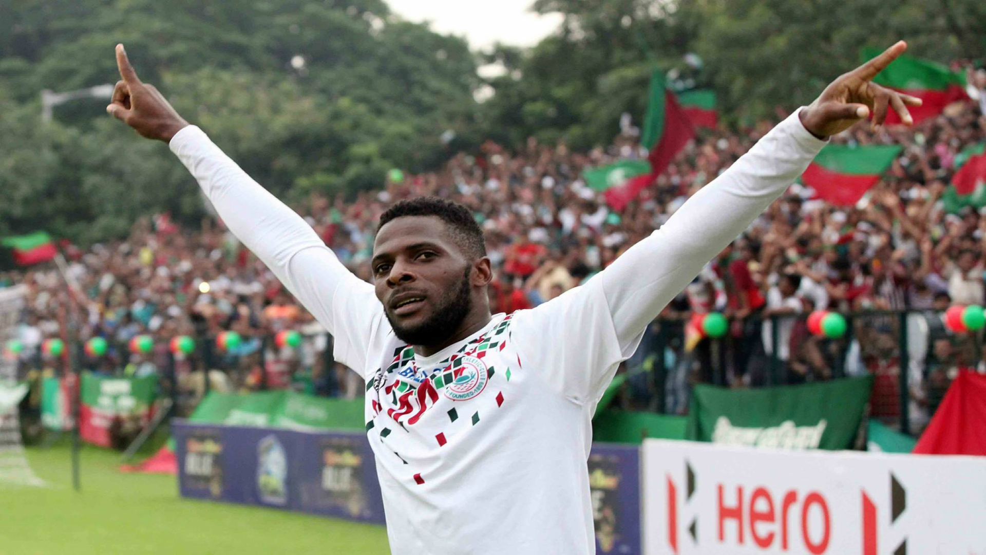 Mohun Bagan's Henry Kisseka in a silent celebration after giving them the lead