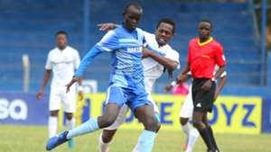 Kelvin Thairu of Nakumatt v Edward Seda of AFC Leopards.