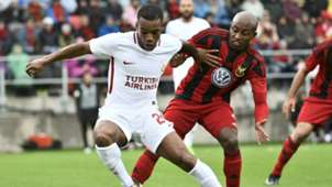 Garry Rodrigues of Galatasaray & Fouad Bachirou of Ostersund