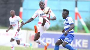 Bernard Ongoma (L) of Ulinzi Stars and Victor Majjid of AFC Leopards.