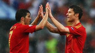David Villa Xabi Alonso Spain Euro 2008