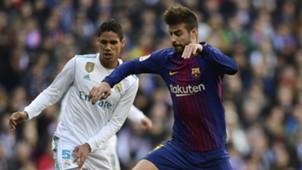 Gerard Pique Raphael Varane Real Madrid Barcelona 23122017 La Liga