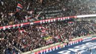 Banderole hostile à Neymar lors de PSG-Nîmes Olympique (3-0, 1ère j. de Ligue 1) le 11 août 2019