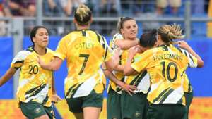 Chloe Logarzo celebrates with Australia vs Brazil WWC 2019