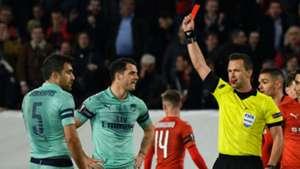 Sokratis red card Arsenal Rennes