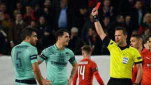 Sokratis red card Arsenal Rennes