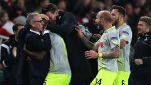 Koln celebrate Arsenal