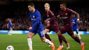 Hazard Rakitic Paulinho Messi Pedro Kante Chelsea Barcelona Champions League