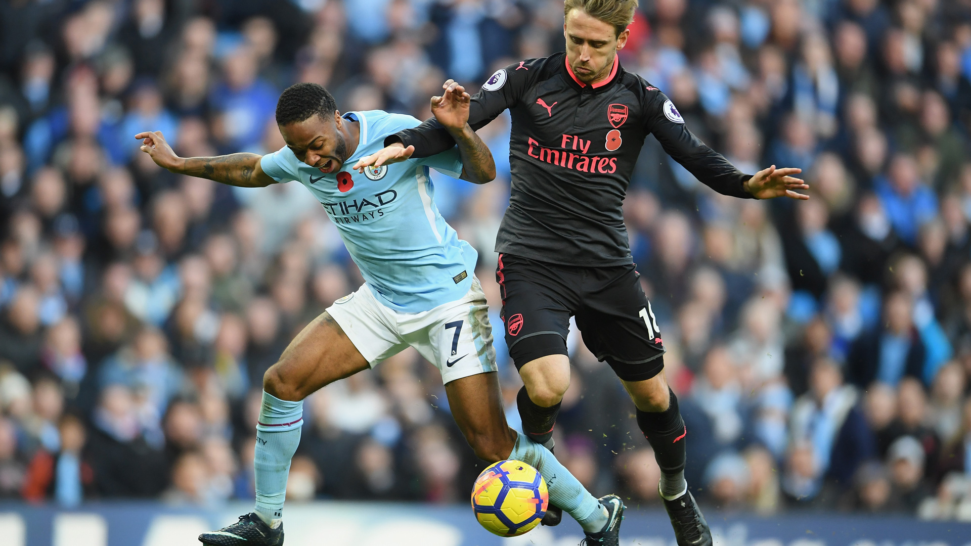 Raheem Sterling Nacho Monreal Premier League Manchester City FC Arsenal 110517