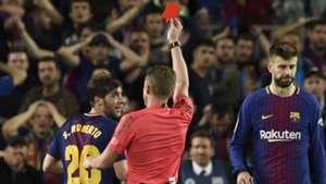 Sergi Roberto red card Barcelona Real Madrid