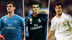 Real Madrid and Atletico Madrid players Morata Solari Courtois