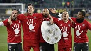 Arturo Vidal Rafinha Robert Lewandowski Franck Ribéry Douglas Costa Bayern champion 290417