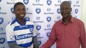 AFC Leopards coach Robert Matano and new signing.j