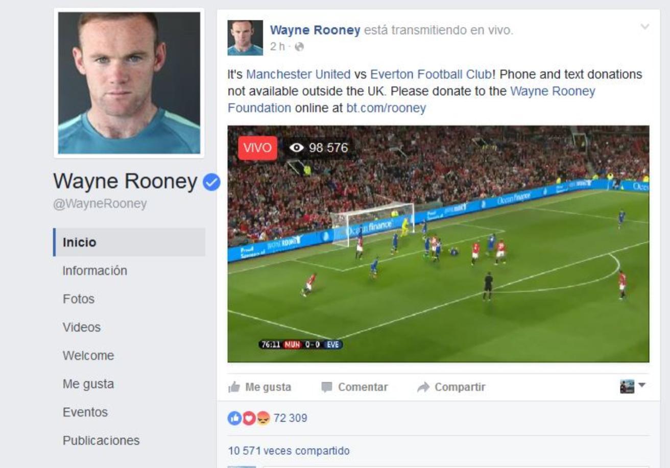 Video en vivo Facebook Wayne Rooney 250918