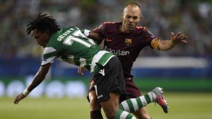 Gelson Martins Andres Iniesta Sporting CP Barcelona UCL 27092017