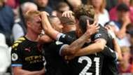 Man City celebrate Gabriel Jesus goal vs West Ham 2019-20