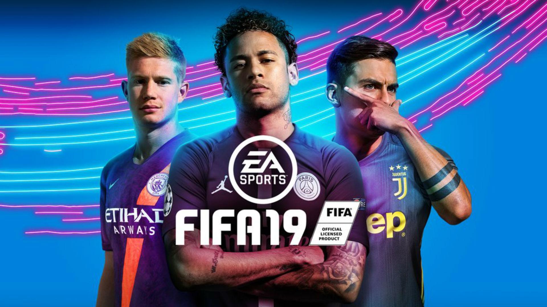 FIFA 19 cover Kevin De Bruyne Neymar Paulo Dybala