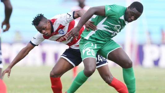 Ernest Wendo of Gor Mahia v Simon Ndungu of AFC Leopards