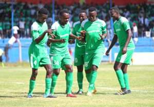 Gor Mahia players celebrate Kevin Omondi goal.