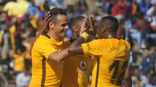 Gustavo Paez celebrates his goal with Kaizer Chiefs teammates