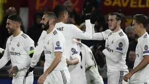 Real Madrid celebrating Roma Champions League