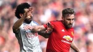 Mohamed Salah Luke Shaw Liverpool Manchester United 2018-19