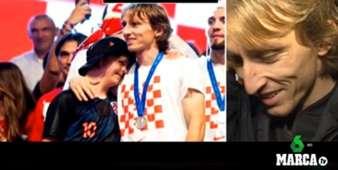 크로아티아 루카 모드리치가 다운증후군을 앓고 있는 소년팬의 영상 편지를 보며 웃고 있다. 사진=마르카tv 캡처