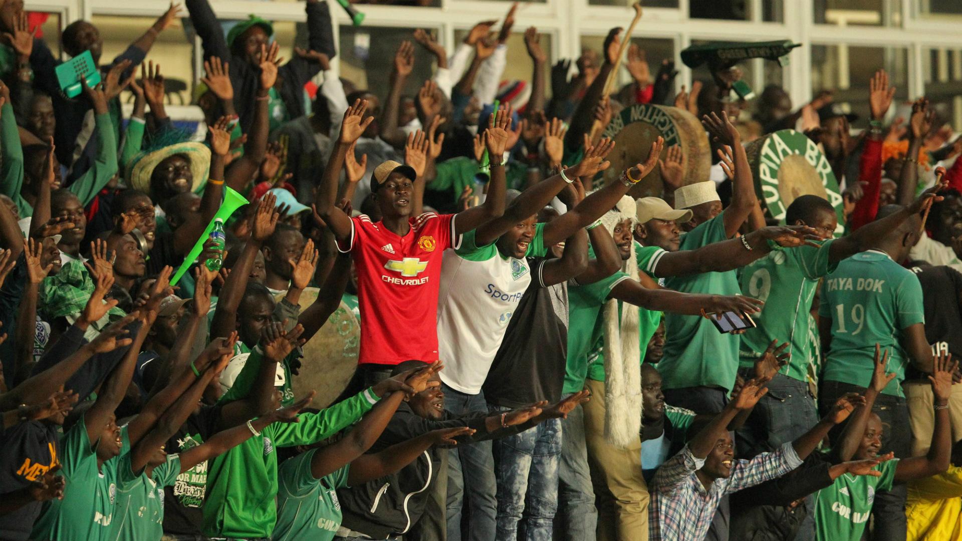 Gor Mahia fans at Kasarani Stadiu v Yanga of Tanzania.