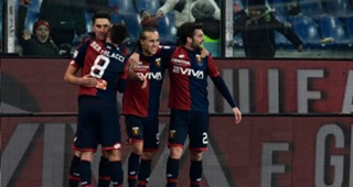 Genoa players celebrating Genoa Inter Serie A
